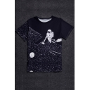 Digital Astronaut Printed Round Neck Short Sleeve Pullover Stylish T-Shirt