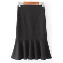 New Fashion High Rise Plain Fishtail Trim Mini Knit Pencil Skirt