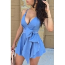New Fashion Sexy Spaghetti Straps Plunge Neck Plain Bow Waist Mini Denim Dress
