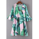 Round Neck Bell Sleeve Color Block Banana Leaves Printed Zip Back Midi A-Line Dress
