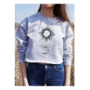 The Moon The Sun Printed Round Neck Long Sleeve Casual Cropped Sweatshirt