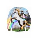 Digital Cat Horse Printed Round Neck Long Sleeve Fashion Pullover Loose Sweatshirt