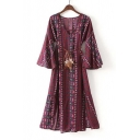 Tribal Printed V-Neck 3/4 Length Bell Sleeve Belt Waist Split Sides Maxi Dress
