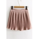 Summer's New Fashion Elastic Waist Pleated Plain Chiffon A-Line Mini Skirt