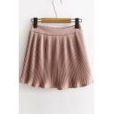 Summer's New Fashion Elastic Waist Pleated Plain Chiffon A-Line Mini Skirt