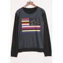 New Fashion National Flag Printed Round Neck Long Sleeve Pullover Sweatshirt