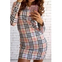 New Fashion Round Neck Long Sleeve Classic Plaid Printed Mini Pencil Dress