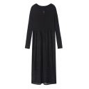 New Stylish Lace Patchwork Long Sleeve Round Neck Midi T-Shirt Pleated Dress