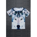 Color Block Wolf Printed Round Neck Short Sleeve Pullover Leisure Graphic Tee