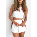 Sexy Tied Back Spaghetti Straps Embroidery Floral Cami Tank with One Shorts/Bodycon Skirt
