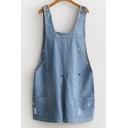 Cute Embroidery Cat Face Pattern Straps Sleeveless Denim Overalls