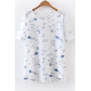Fashion Planet Moon Star Printed Short Sleeve Round Neck Casual Tee