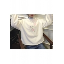 Cartoon Cat Floral Embroidered Mock Neck Long Sleeve Pullover Casual Sweatshirt