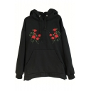Women's Drawstring Hooded Embroidery Floral Pattern Hoodie Sweatshirt with A Kangaroo Pocket