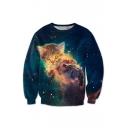 New Fashion Galaxy Cat Printed Round Neck Long Sleeve Pullover Leisure Sweatshirt