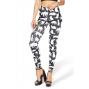 Color Block Cat Printed Skinny Sports Full Length Leggings