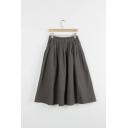 Linen Gingham Printed Elastic Waist A-Line Midi Skirt