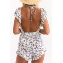 Floral Printed Ruffle Hem Sleeve Plunge Neck Bow Tie Waist Open Back Rompers