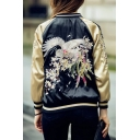 Reversible Embroidery Crane Pattern Raglan Sleeve Zipper Placket Bomber Jacket