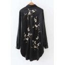 Plum Blossom Embroidered Back Lapel Collar Long Sleeve High Low Hem Tunic Shirt