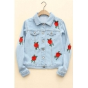Hot Fashion Rose Embroidered Lapel Collar Long Sleeve Single Breasted Denim Jacket
