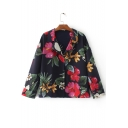 New Arrival Notched Lapel Floral Printed Single Breasted Color Block Coat