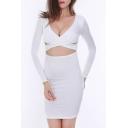 Sexy Plunge V-Neck Crisscross Cutout Front Long Sleeve Plain Midi Bodycon Dress
