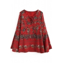 Women's Lace-Up V-Neck Bell Long Sleeve Floral Printed Tunic Blouse