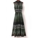 Stand Up Collar Sleeveless Key Hole Geometric Floral Printed Maxi Dress