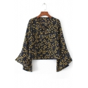 V Neck Lace Up Front Long Sleeve Leaf Printed Pullover Casual Blouse