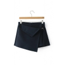 Summer Plain Wrap Design Metal Ring Detail Zip Back Mini Skort