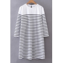 Casual Striped Color Block Long Sleeve Round Neck Mini T-Shirt Dress