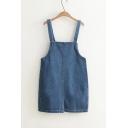 Basic Plain Split Back Buttons Straps Mini Denim Overall Dress