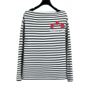 Boat Neck Embroidery Floral Pattern Striped Color Block Pullover Sweater Top