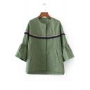 Women's Tassel Zipper Placket Bell Long Sleeve Collarless Coat