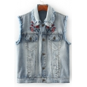 Women's Bleached Fringe Trim Sleeveless Single Breasted Embroidery Floral Pattern Denim Vest