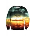 Galaxy Trees Shadow Printed Round Neck Long Sleeve Pullover Leisure Sweatshirt