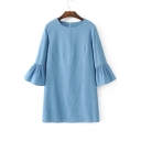 Round Neck Ruffle Sleeve Zip Back Shift Mini Denim Plain Dress