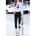 New Arrival Cartoon Appliqued Lapel Single Breasted Shirt with Plain Cropped Pants