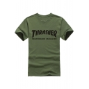 Unisex THRASHER Letter Printed Short Sleeve Round Neck Casual Tee