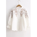 Stand-Up Collar Long Sleeve Floral Embroidered Buttons Down Shirt