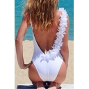 Women's Open Back Patched Shoulder Plain One Pieces Swimsuit