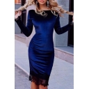 Elegant Chic Lace Patchwork Boat Neck Long Sleeve Plain Midi Bodycon Dress
