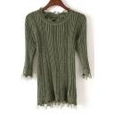 New Fashion Round Neck 3/4 Length Sleeve Lace Trim Slim Fitted Pullover Sweater