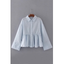 Letter Embroidered Back Lapel Collar Long Sleeve Ruffle Hem Striped Shirt