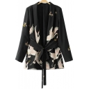 New Arrival Open Front Belt Waist Notched Lapel Long Sleeve Crane Printed Blazer