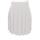 Women's High Waist Plain Mini A-Line Pleated Skirt