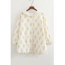 Lovely Pineapple Printed Hooded Single Breasted Drawstring Hem Coat