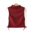 New Arrival Tied Sides Sleeveless Half High Neck Cropped Plain Pullover Sweater