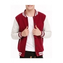 Color Block Stand Up Collar Long Sleeve Single Breasted Oversize Baseball Jacket